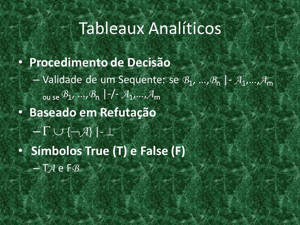 Tableaux Analíticos Procedimento de Decisão Baseado em Refutação