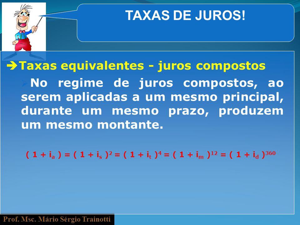 TAXAS DE JUROS! Taxas equivalentes - juros compostos
