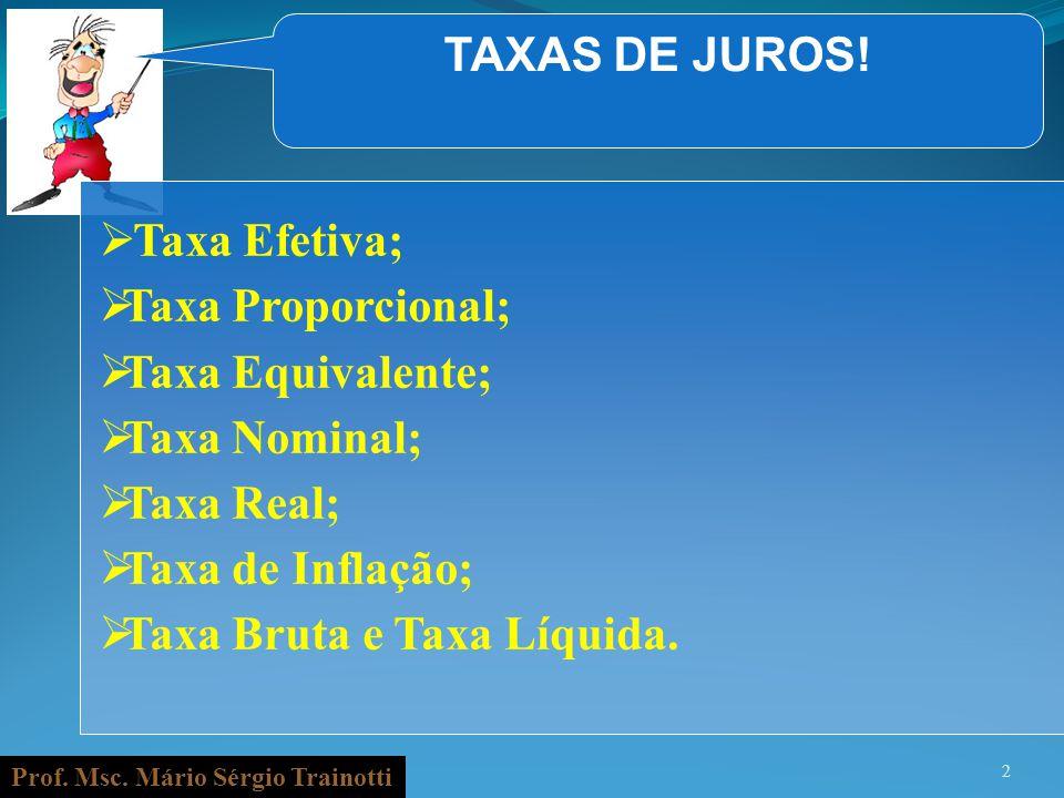 TAXAS DE JUROS! Taxa Efetiva; Taxa Proporcional; Taxa Equivalente; Taxa Nominal; Taxa Real; Taxa de Inflação;