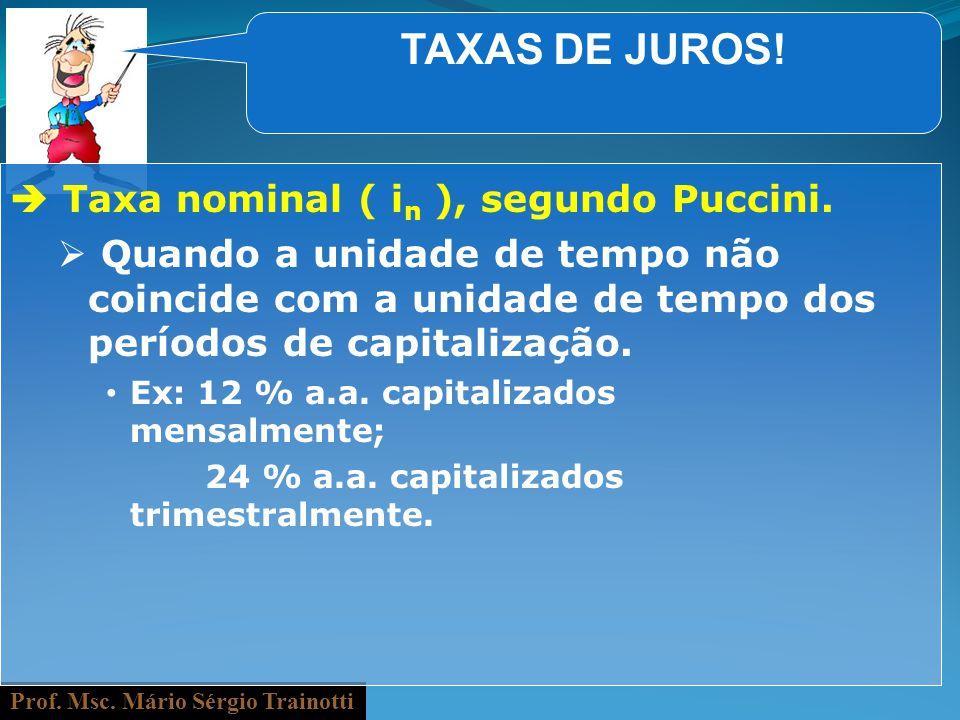 TAXAS DE JUROS!  Taxa nominal ( in ), segundo Puccini.