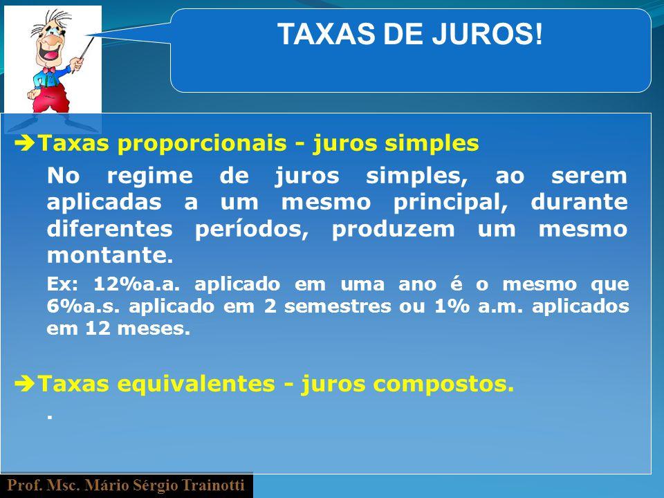 TAXAS DE JUROS! Taxas proporcionais - juros simples