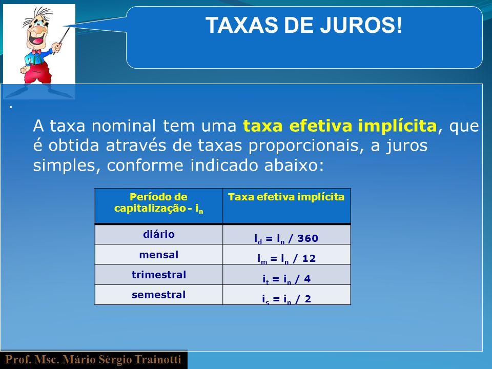 Período de capitalização - in Taxa efetiva implícita