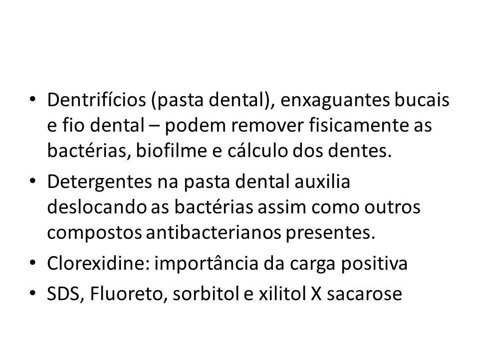 Dentrifícios (pasta dental), enxaguantes bucais e fio dental – podem remover fisicamente as bactérias, biofilme e cálculo dos dentes.