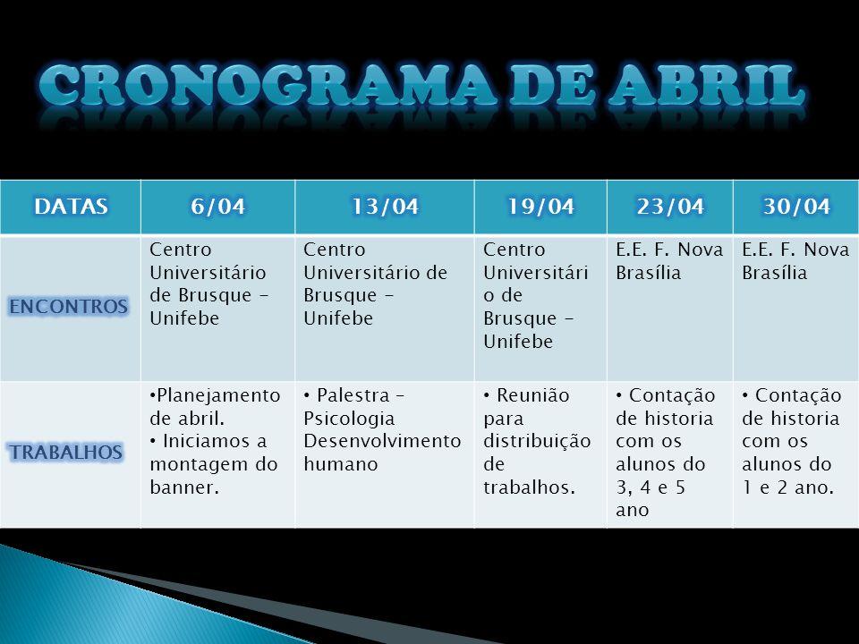 Cronograma de Abril DATAS 6/04 13/04 19/04 23/04 30/04 ENCONTROS