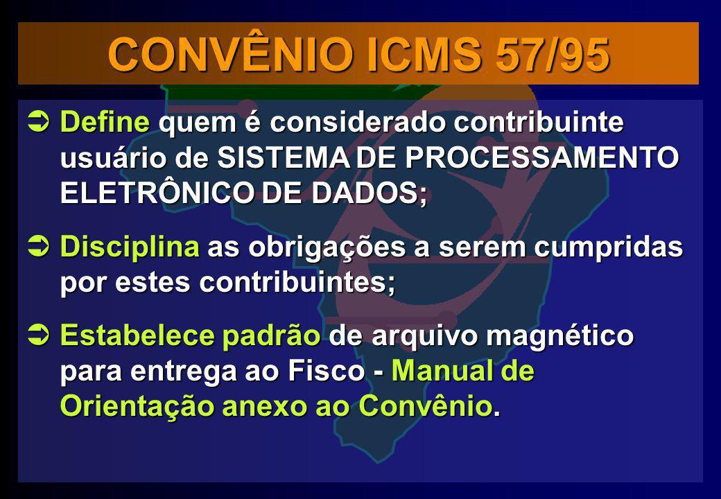 CONVÊNIO ICMS 57/95 Define quem é considerado contribuinte usuário de SISTEMA DE PROCESSAMENTO ELETRÔNICO DE DADOS;