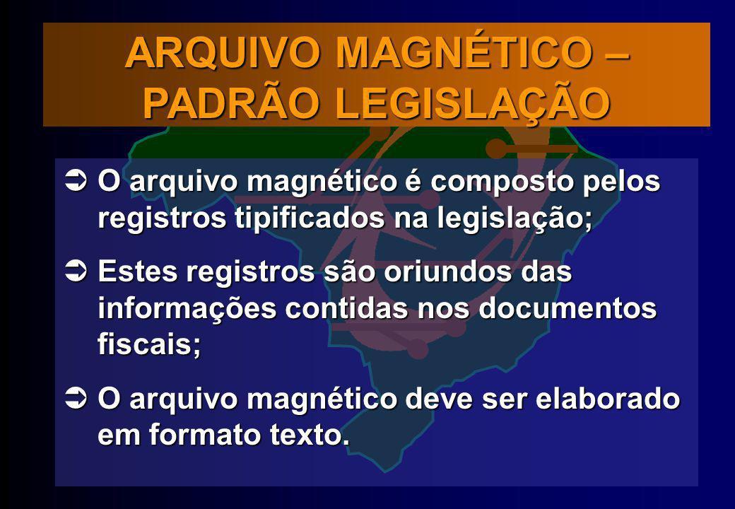 ARQUIVO MAGNÉTICO – PADRÃO LEGISLAÇÃO