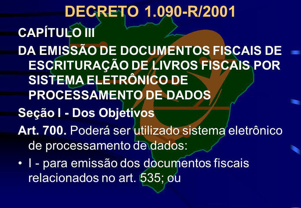 DECRETO 1.090-R/2001 CAPÍTULO III