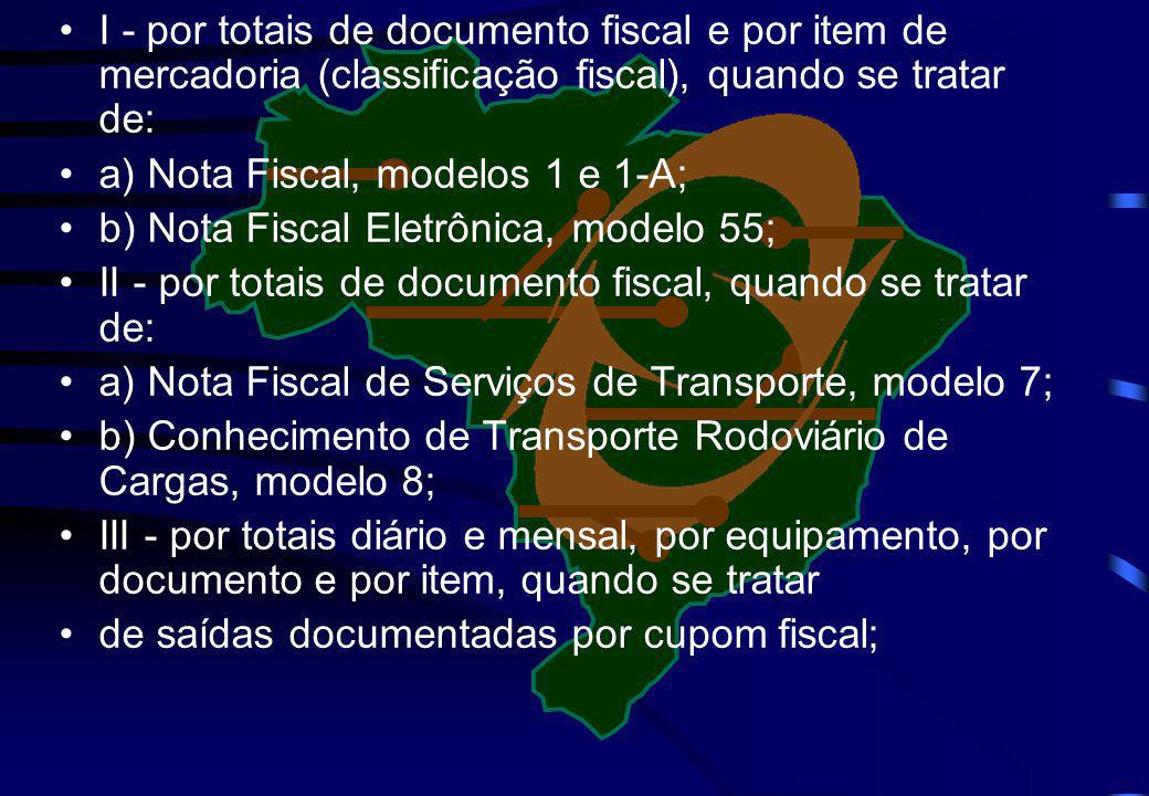 I - por totais de documento fiscal e por item de mercadoria (classificação fiscal), quando se tratar de: