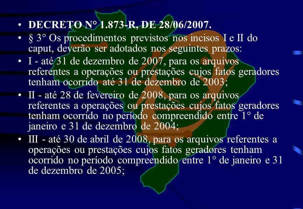 DECRETO N° 1.873-R, DE 28/06/2007. § 3° Os procedimentos previstos nos incisos I e II do caput, deverão ser adotados nos seguintes prazos: