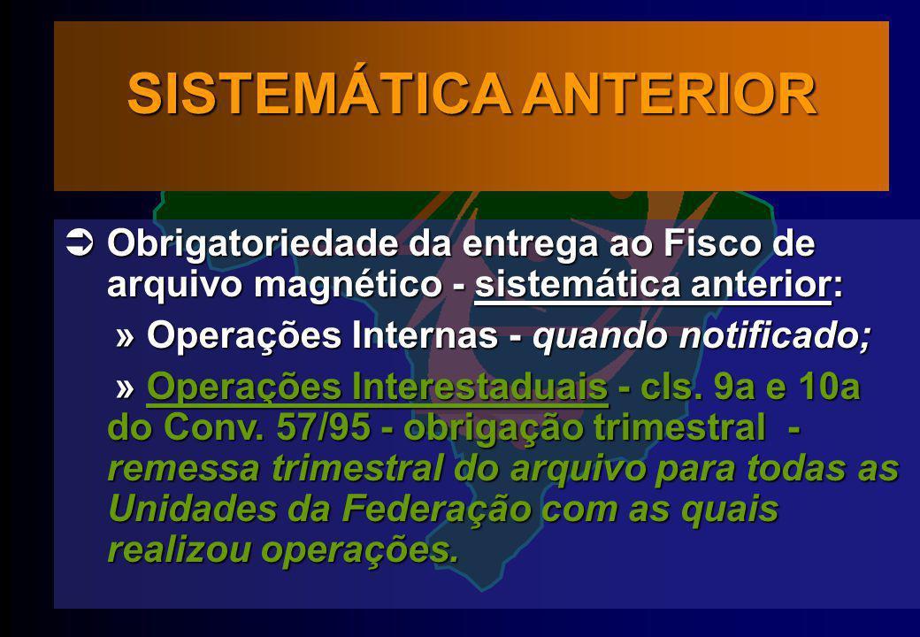 SISTEMÁTICA ANTERIOR Obrigatoriedade da entrega ao Fisco de arquivo magnético - sistemática anterior: