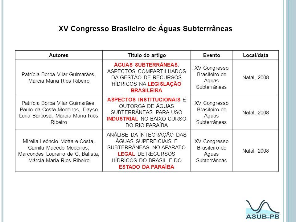 XV Congresso Brasileiro de Águas Subterrrâneas