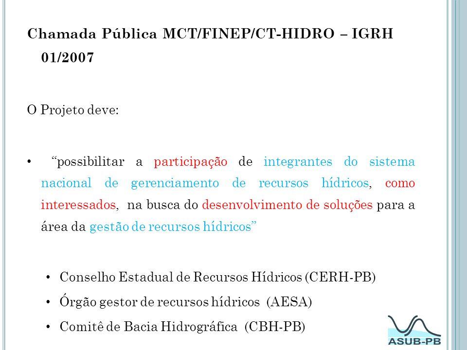 Chamada Pública MCT/FINEP/CT-HIDRO – IGRH 01/2007