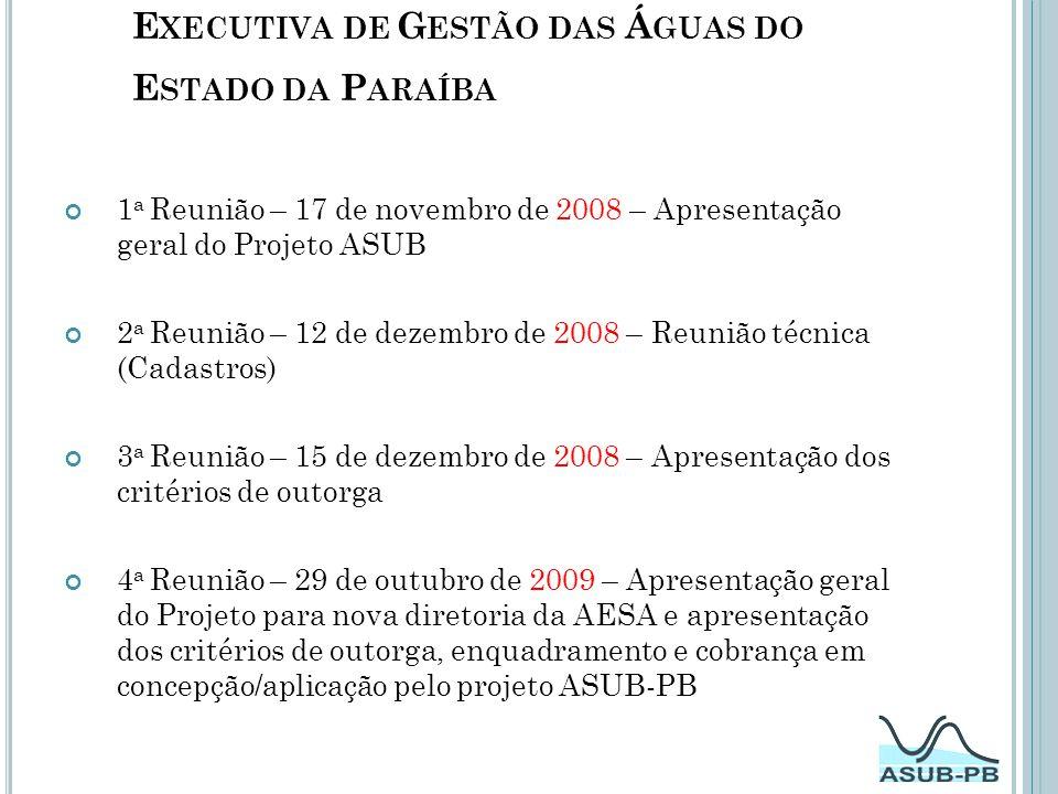 Reuniões com a AESA - Agência Executiva de Gestão das Águas do Estado da Paraíba