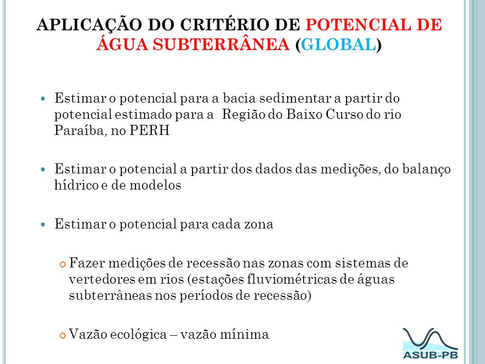 Aplicação do Critério de POTENCIAL DE ÁGUA SUBTERRÂNEA (Global)