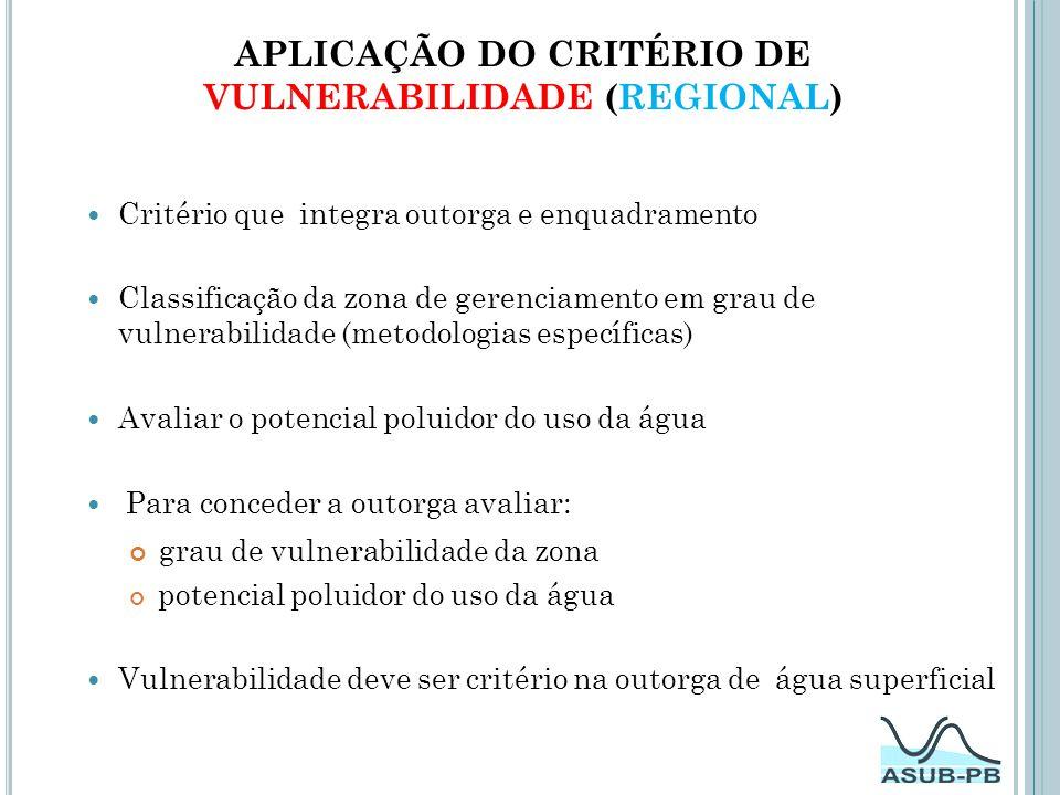 Aplicação do Critério de VULNERABILIDADE (REGIONal)