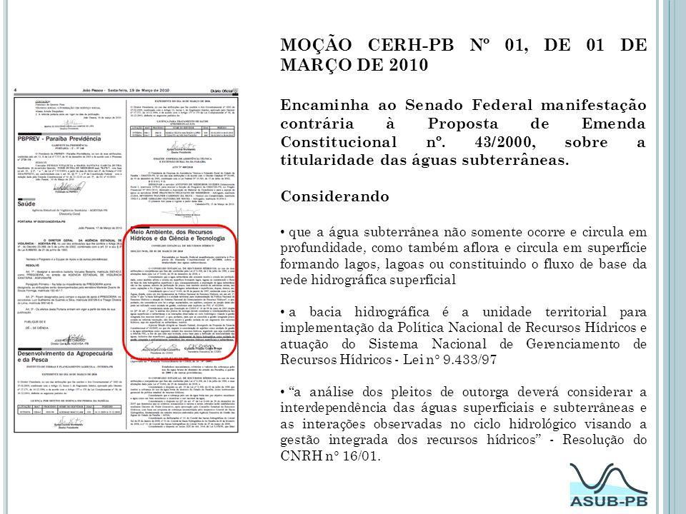 MOÇÃO CERH-PB Nº 01, DE 01 DE MARÇO DE 2010