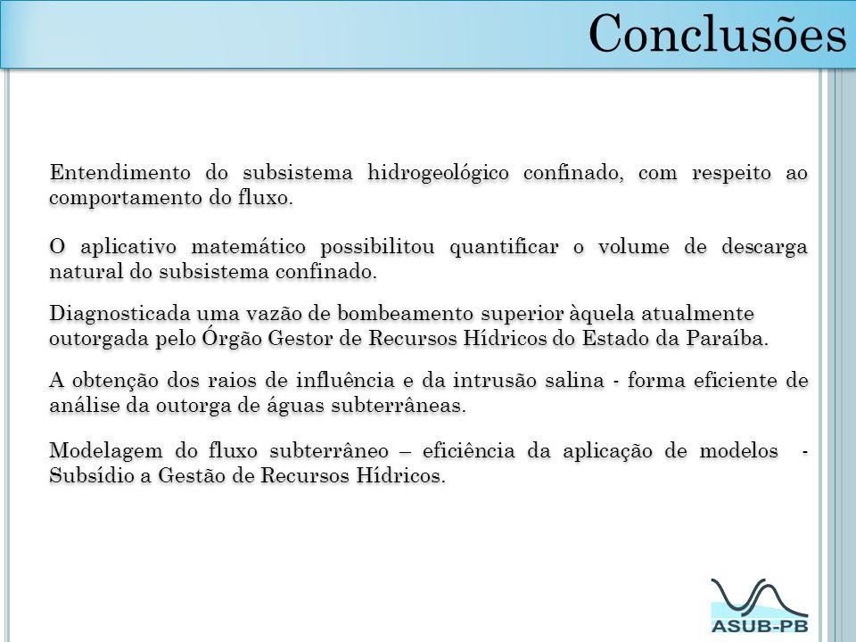 Conclusões Entendimento do subsistema hidrogeológico confinado, com respeito ao comportamento do fluxo.
