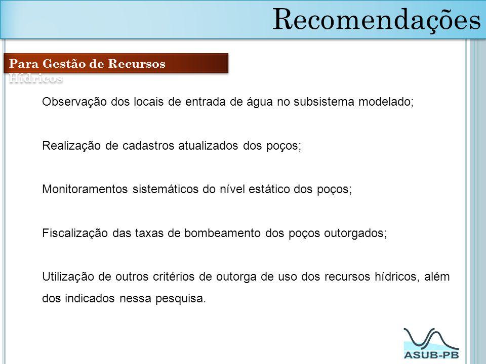 Recomendações Para Gestão de Recursos Hídricos