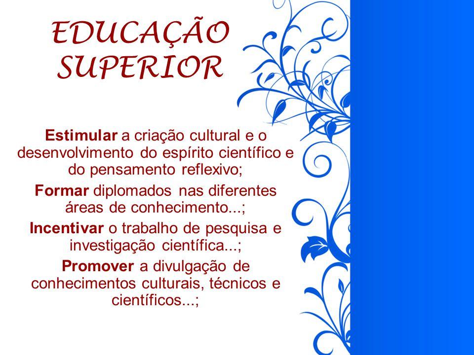EDUCAÇÃO SUPERIOR. Estimular a criação cultural e o desenvolvimento do espírito científico e do pensamento reflexivo;