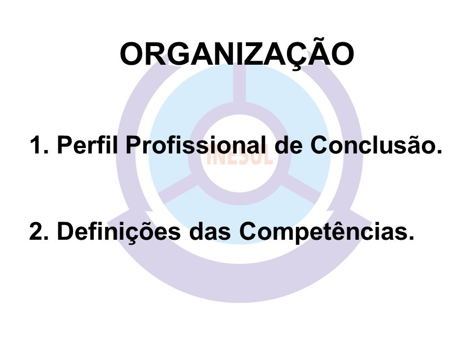 ORGANIZAÇÃO Perfil Profissional de Conclusão.