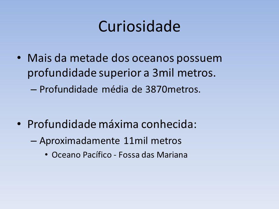 Curiosidade Mais da metade dos oceanos possuem profundidade superior a 3mil metros. Profundidade média de 3870metros.