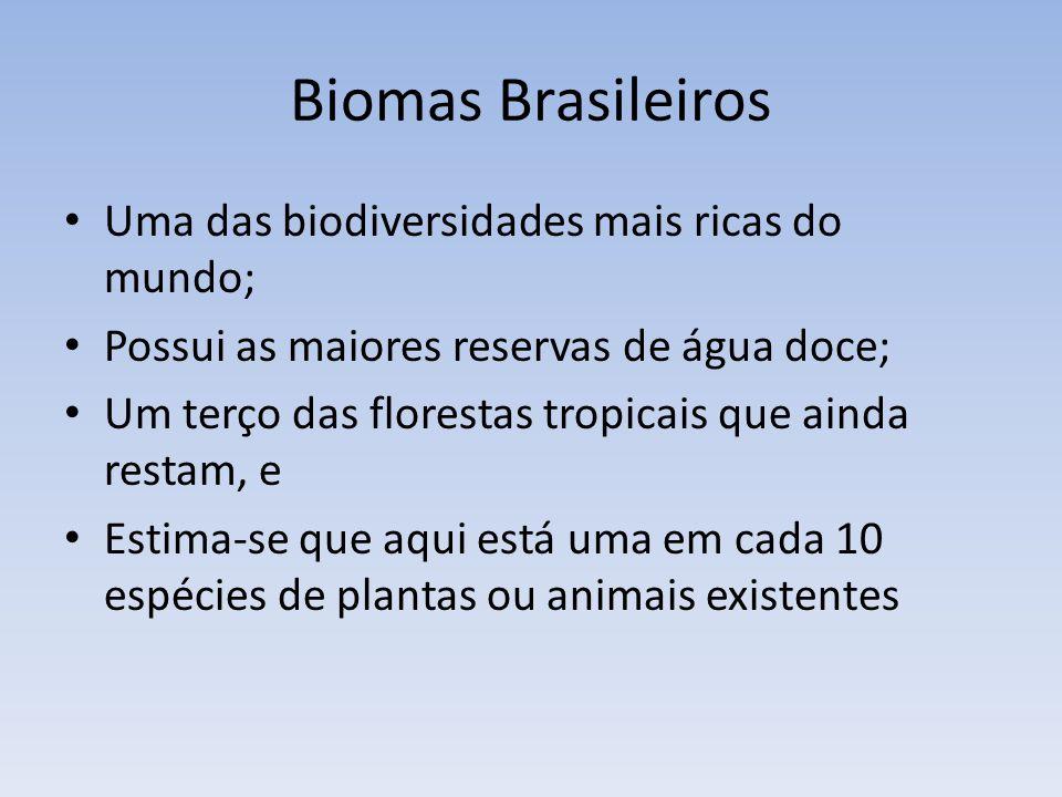 Biomas Brasileiros Uma das biodiversidades mais ricas do mundo;