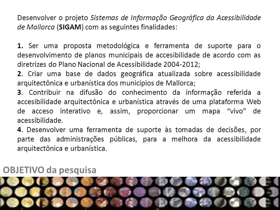 Desenvolver o projeto Sistemas de Informação Geográfica da Acessibilidade de Mallorca (SIGAM) com as seguintes finalidades: