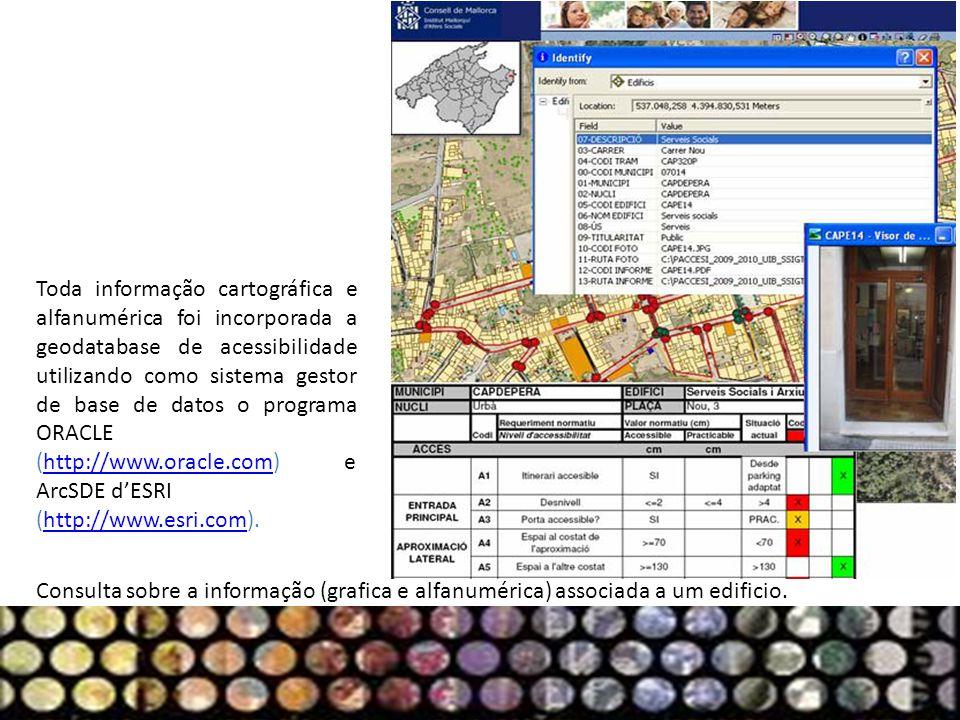 Toda informação cartográfica e alfanumérica foi incorporada a geodatabase de acessibilidade utilizando como sistema gestor de base de datos o programa ORACLE (http://www.oracle.com) e ArcSDE d'ESRI