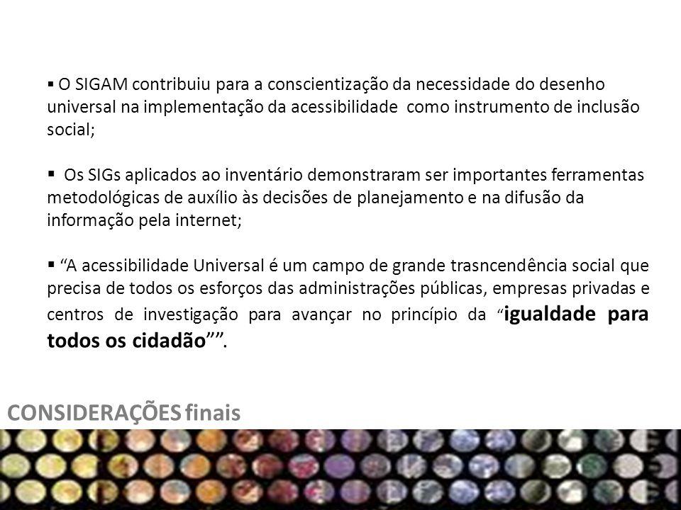O SIGAM contribuiu para a conscientização da necessidade do desenho universal na implementação da acessibilidade como instrumento de inclusão social;