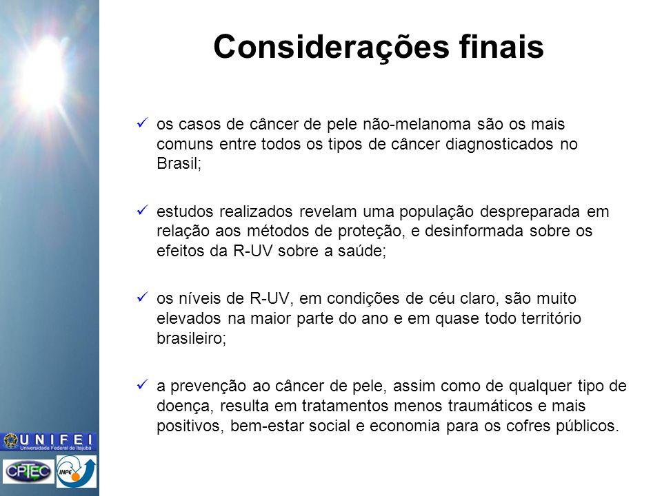 Considerações finais os casos de câncer de pele não-melanoma são os mais comuns entre todos os tipos de câncer diagnosticados no Brasil;