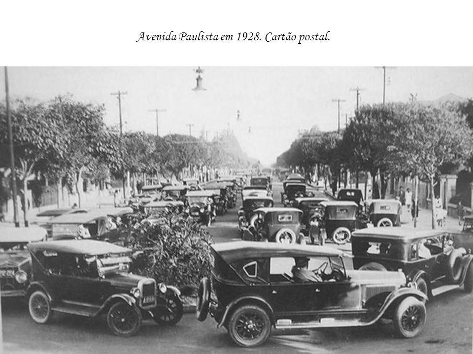Avenida Paulista em 1928. Cartão postal.