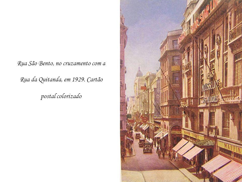 Rua São Bento, no cruzamento com a Rua da Quitanda, em 1929