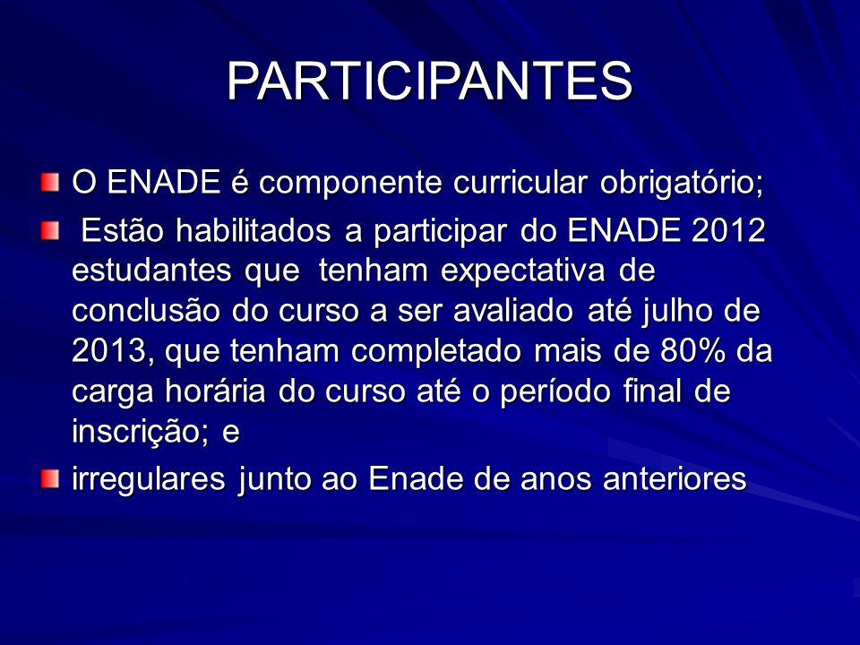 PARTICIPANTES O ENADE é componente curricular obrigatório;