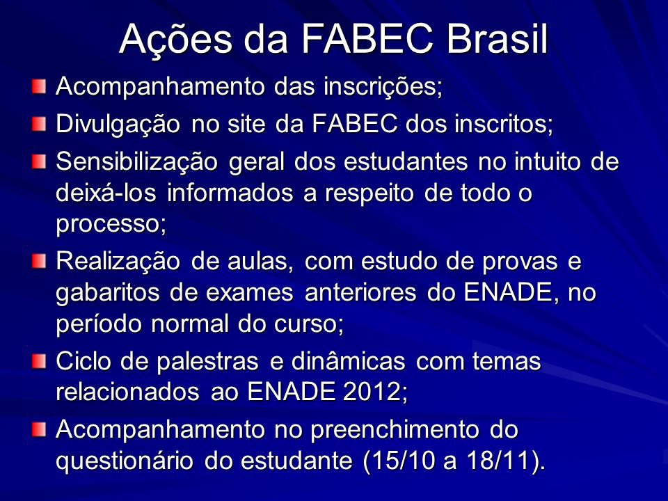Ações da FABEC Brasil Acompanhamento das inscrições;