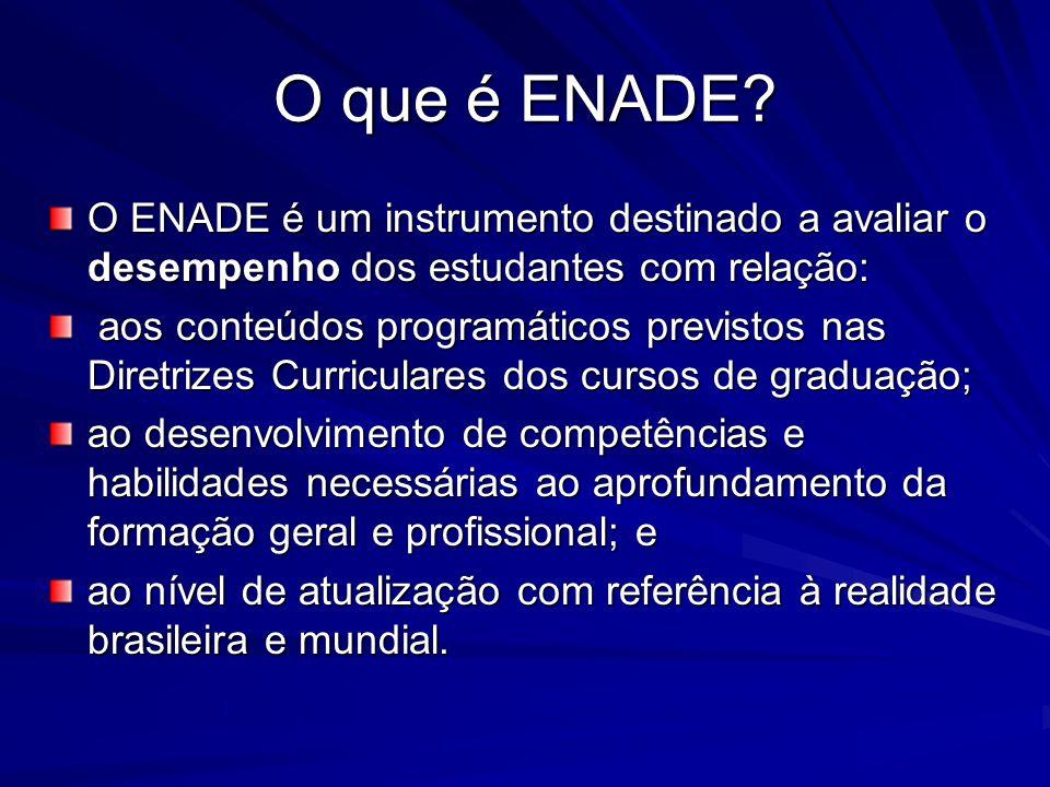 O que é ENADE O ENADE é um instrumento destinado a avaliar o desempenho dos estudantes com relação: