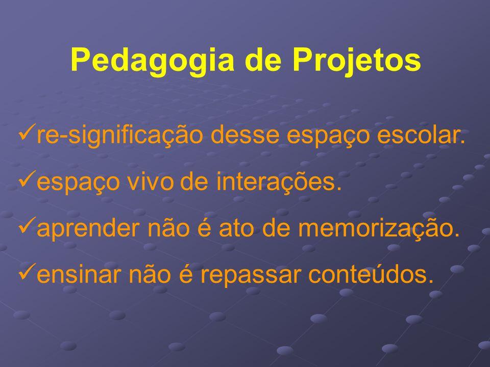 Pedagogia de Projetos re-significação desse espaço escolar.