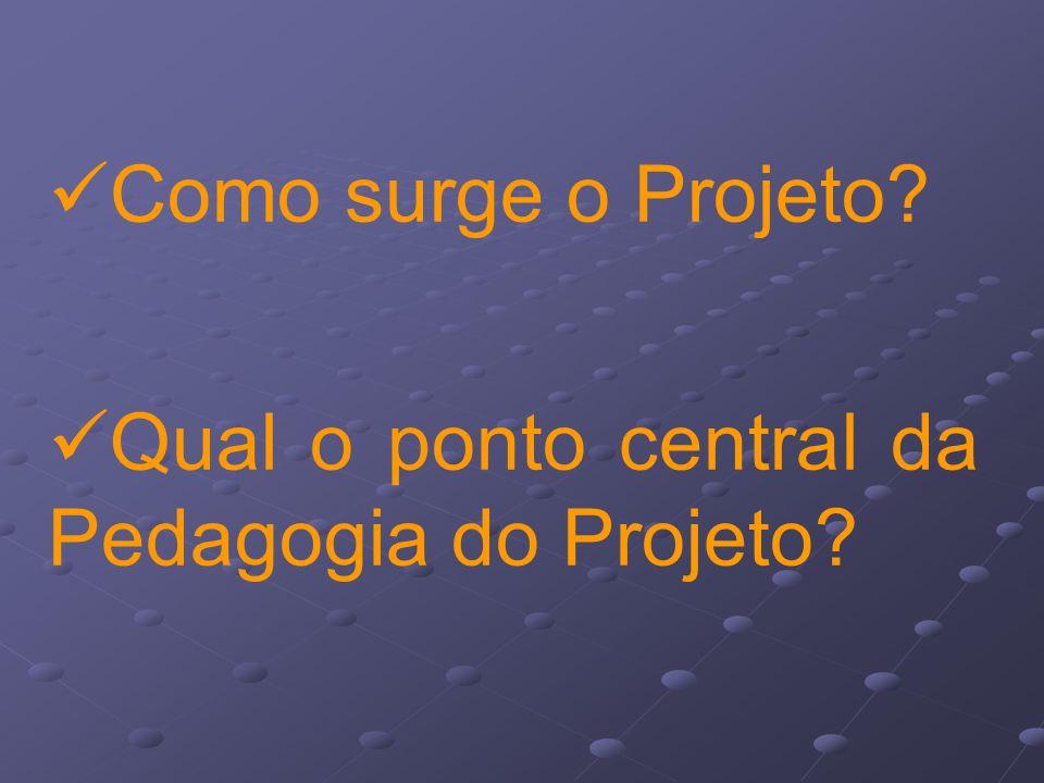 Como surge o Projeto Qual o ponto central da Pedagogia do Projeto