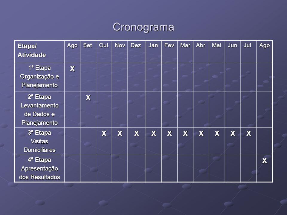 Cronograma X Etapa/ Atividade 1ª Etapa Organização e Planejamento
