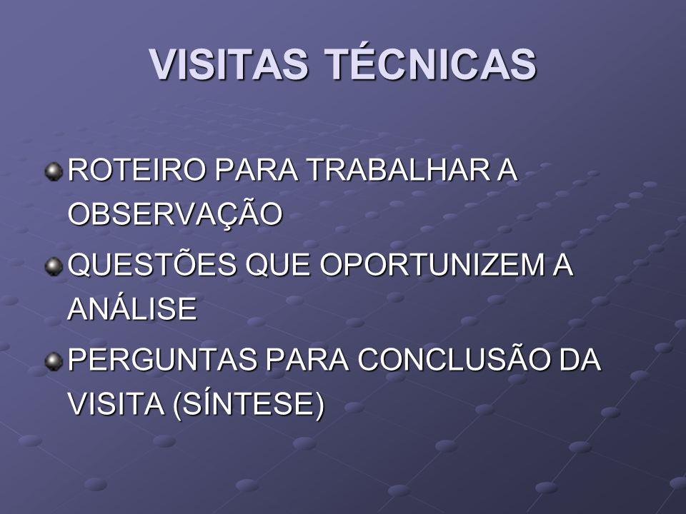 VISITAS TÉCNICAS ROTEIRO PARA TRABALHAR A OBSERVAÇÃO