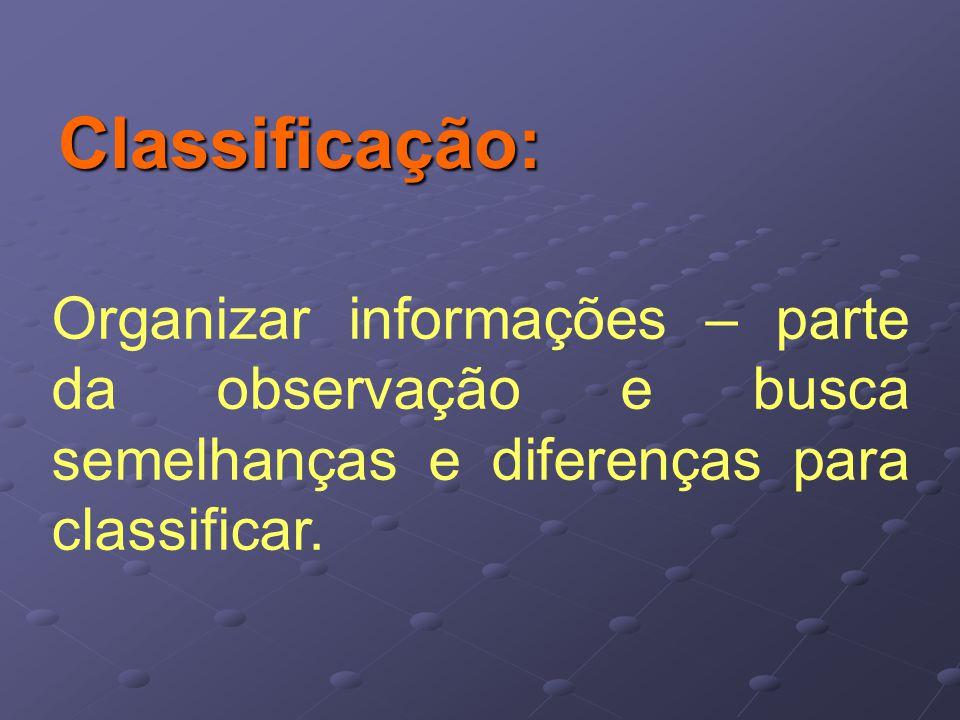 Classificação: Organizar informações – parte da observação e busca semelhanças e diferenças para classificar.
