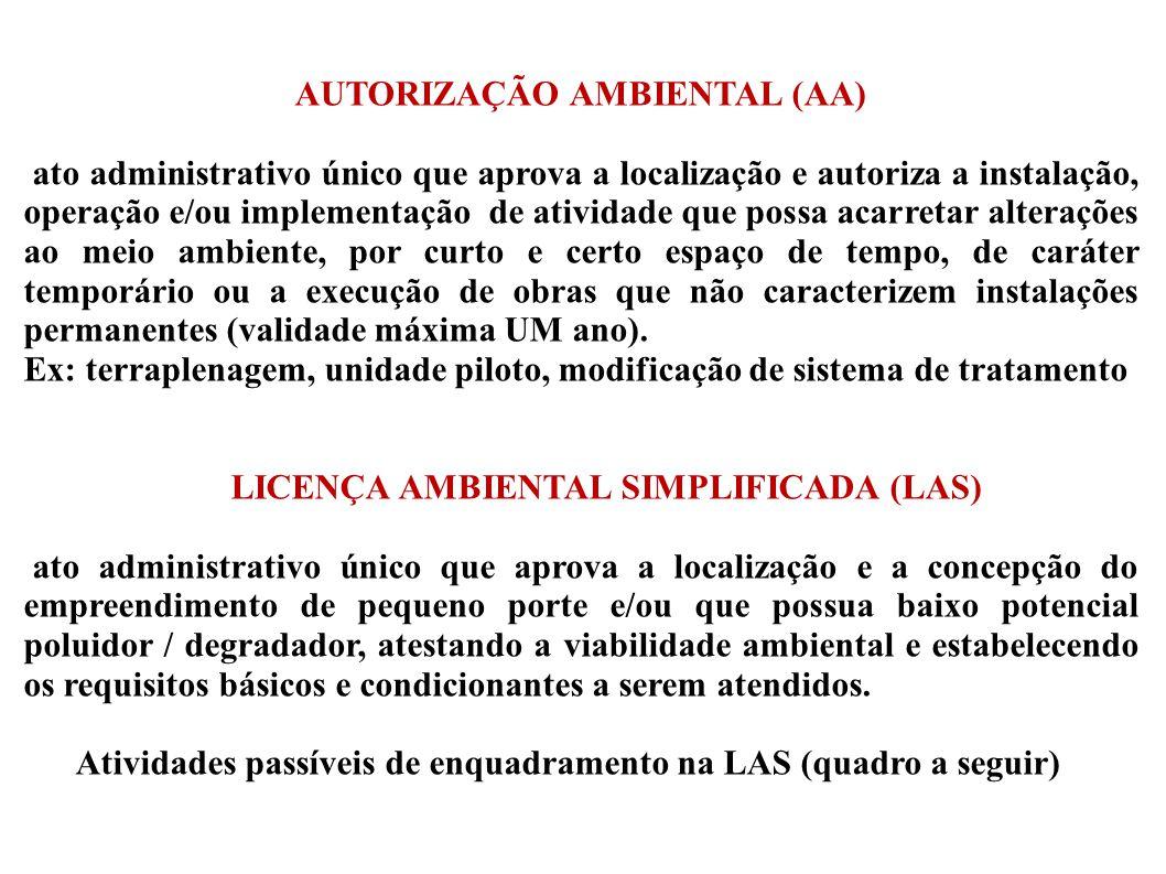 AUTORIZAÇÃO AMBIENTAL (AA) LICENÇA AMBIENTAL SIMPLIFICADA (LAS)