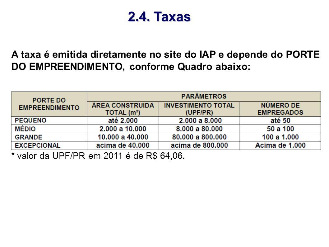 2.4. Taxas A taxa é emitida diretamente no site do IAP e depende do PORTE DO EMPREENDIMENTO, conforme Quadro abaixo: