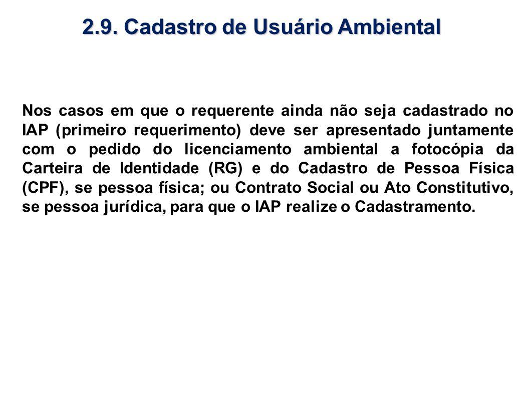 2.9. Cadastro de Usuário Ambiental