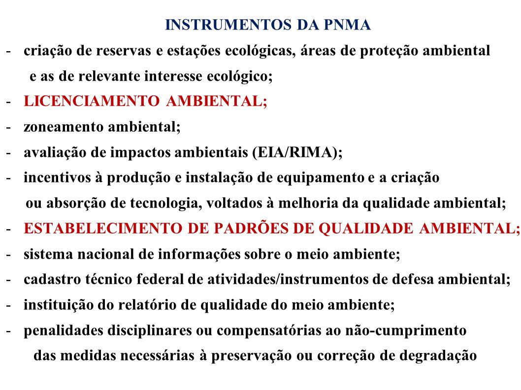 INSTRUMENTOS DA PNMA criação de reservas e estações ecológicas, áreas de proteção ambiental. e as de relevante interesse ecológico;