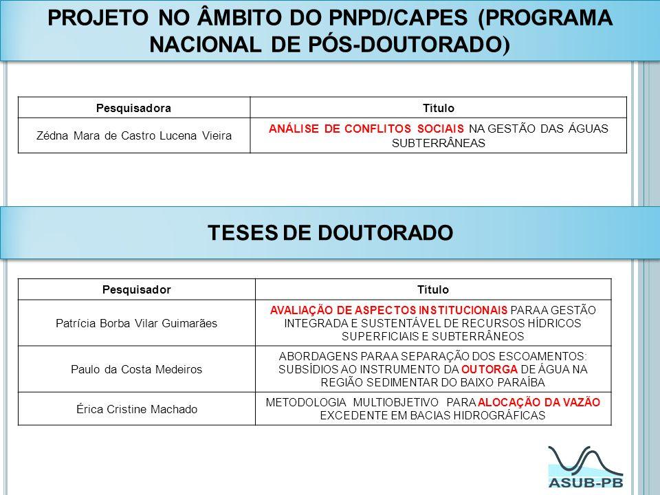 PROJETO NO ÂMBITO DO PNPD/CAPES (PROGRAMA NACIONAL DE PÓS-DOUTORADO)