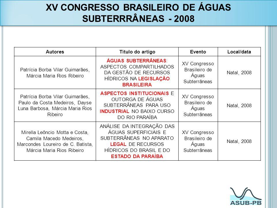 XV CONGRESSO BRASILEIRO DE ÁGUAS SUBTERRRÂNEAS - 2008