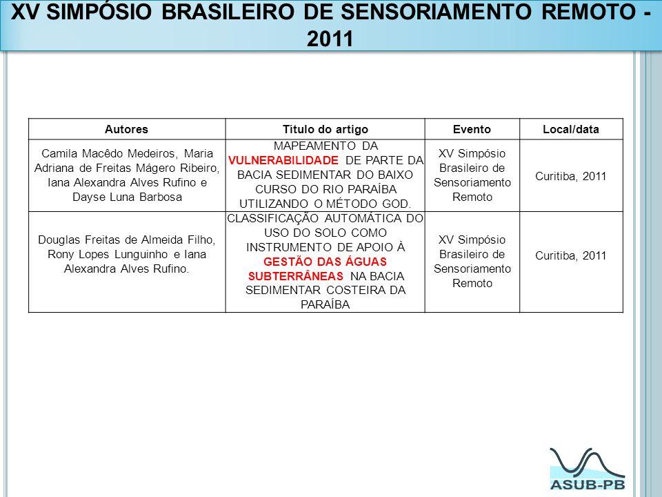 XV SIMPÓSIO BRASILEIRO DE SENSORIAMENTO REMOTO - 2011