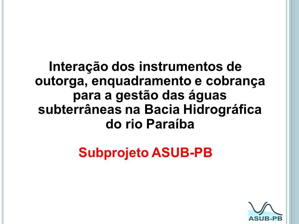 Interação dos instrumentos de outorga, enquadramento e cobrança para a gestão das águas subterrâneas na Bacia Hidrográfica do rio Paraíba