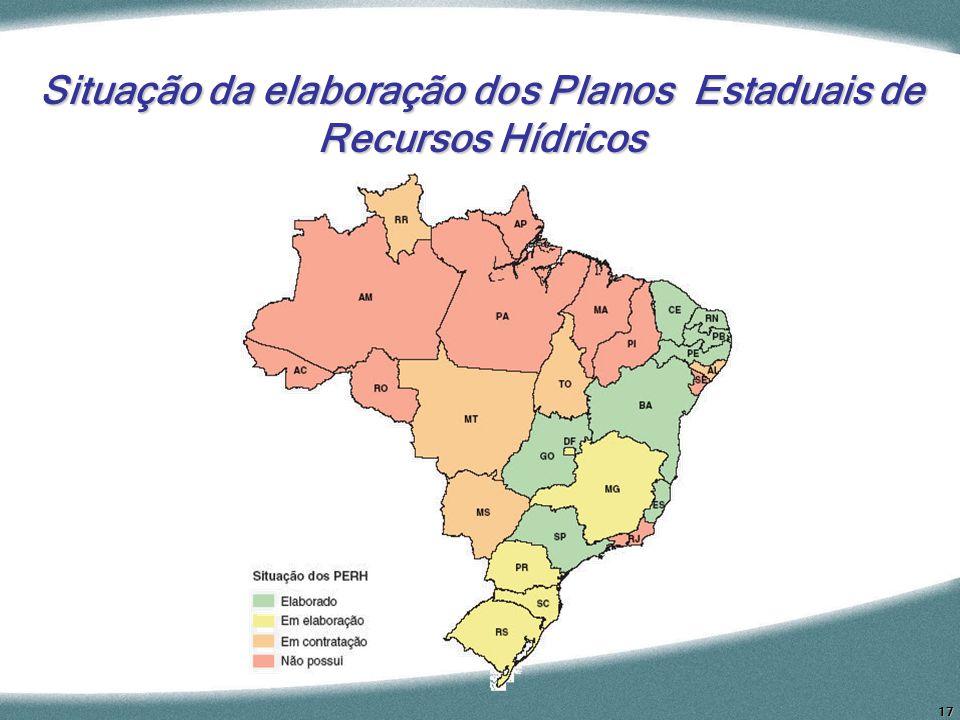 Situação da elaboração dos Planos Estaduais de Recursos Hídricos