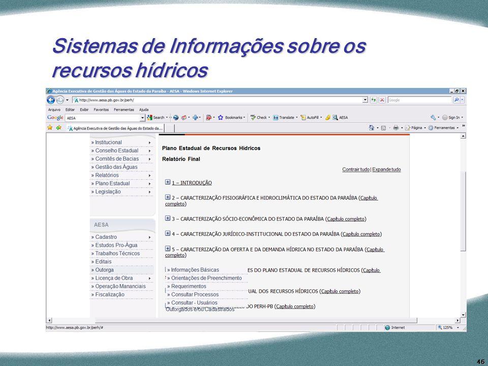 Sistemas de Informações sobre os recursos hídricos